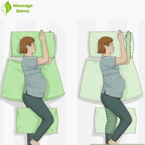 نحوه ی دراز کشیدن در ماساژ بارداری